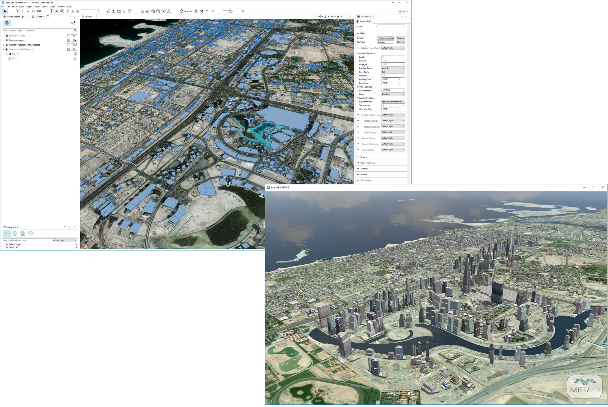 Using Terrain Tools and Esri CityEngine, MetaVR created an urban environment of more than 6,000 realistic 3D buildings in virtual Dubai, United Arab Emirates.